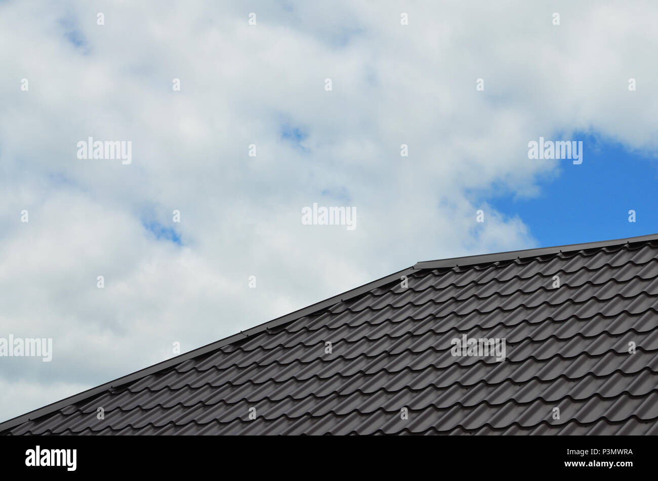 Brown roof tiles or shingles on house as background image. New ...