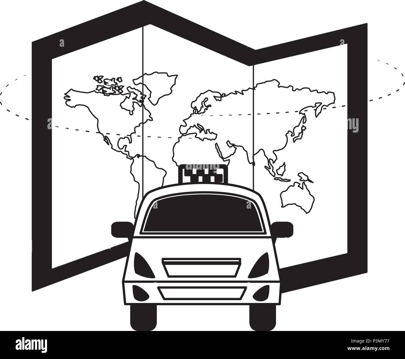 travel taxi car map world transport public Stock Vector