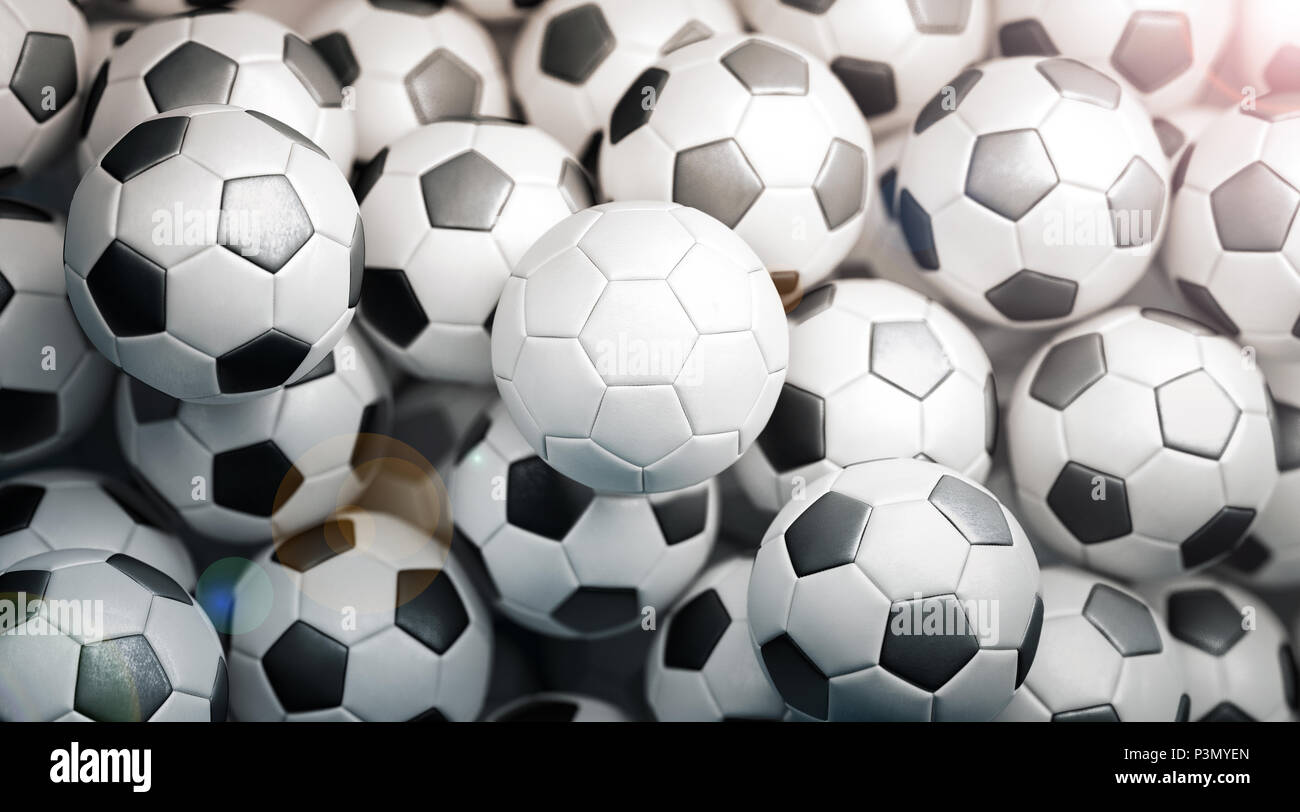 Blank White Soccer Ball Stack Mock Up Top View 3d Rendering Empty Football Heap Mockup Clear Fotball Pile For Playing On The Field Template