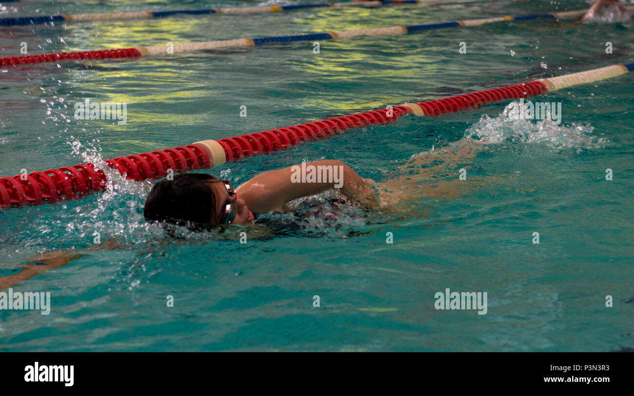 7239eaaa0b5 A student in the Ramstein Aquatic Center Lifeguard Course swims as a  prerequisite for the course July 11