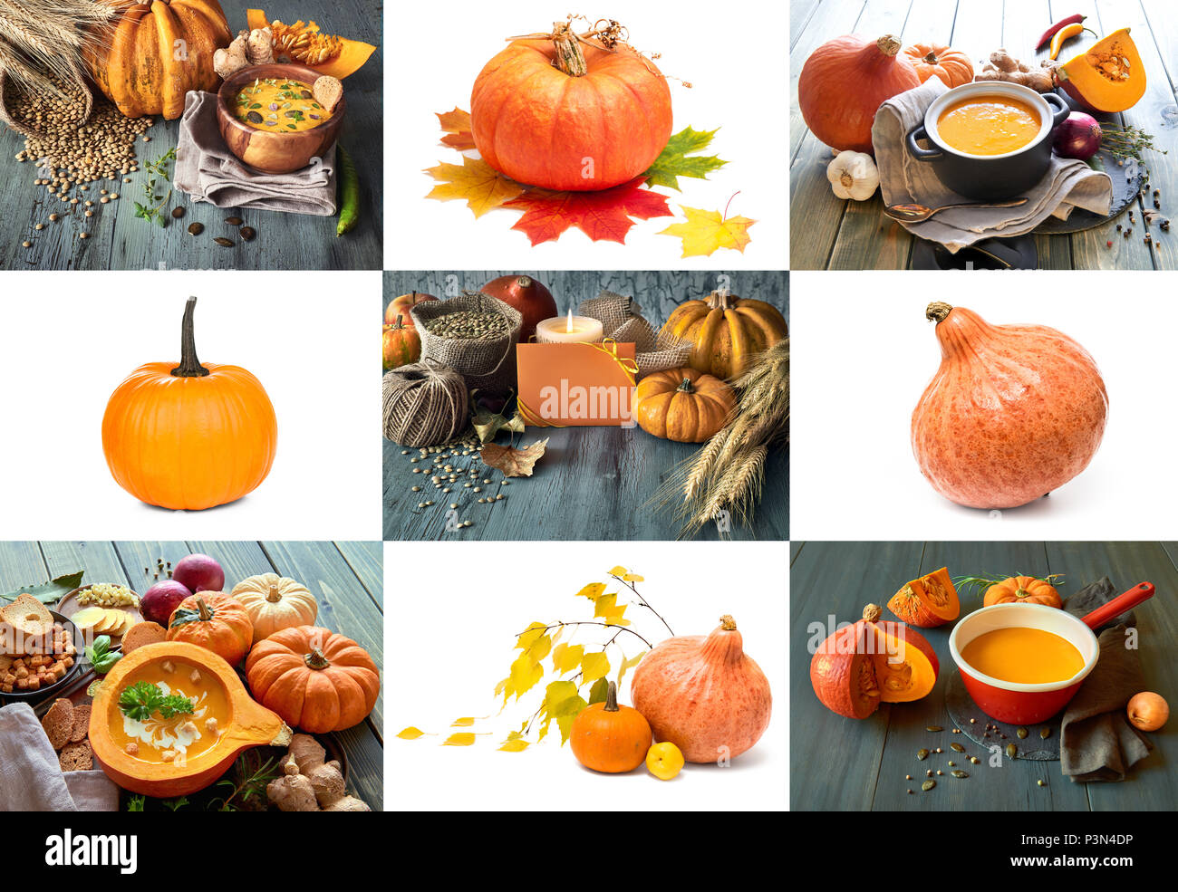 Set of nine pictures with isolated pumpkins and Autumn pictures with pumpkin soup for your seasonal project - Stock Image