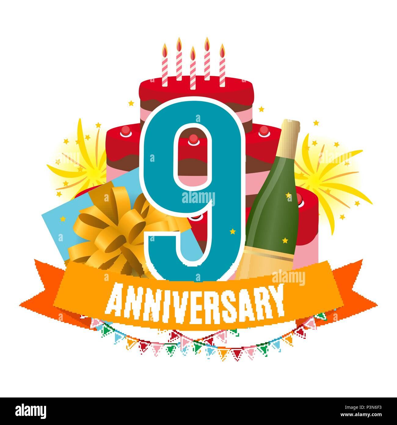 Anniversario Matrimonio 9 Anni.Template 9 Years Anniversary Congratulations Greeting Card With