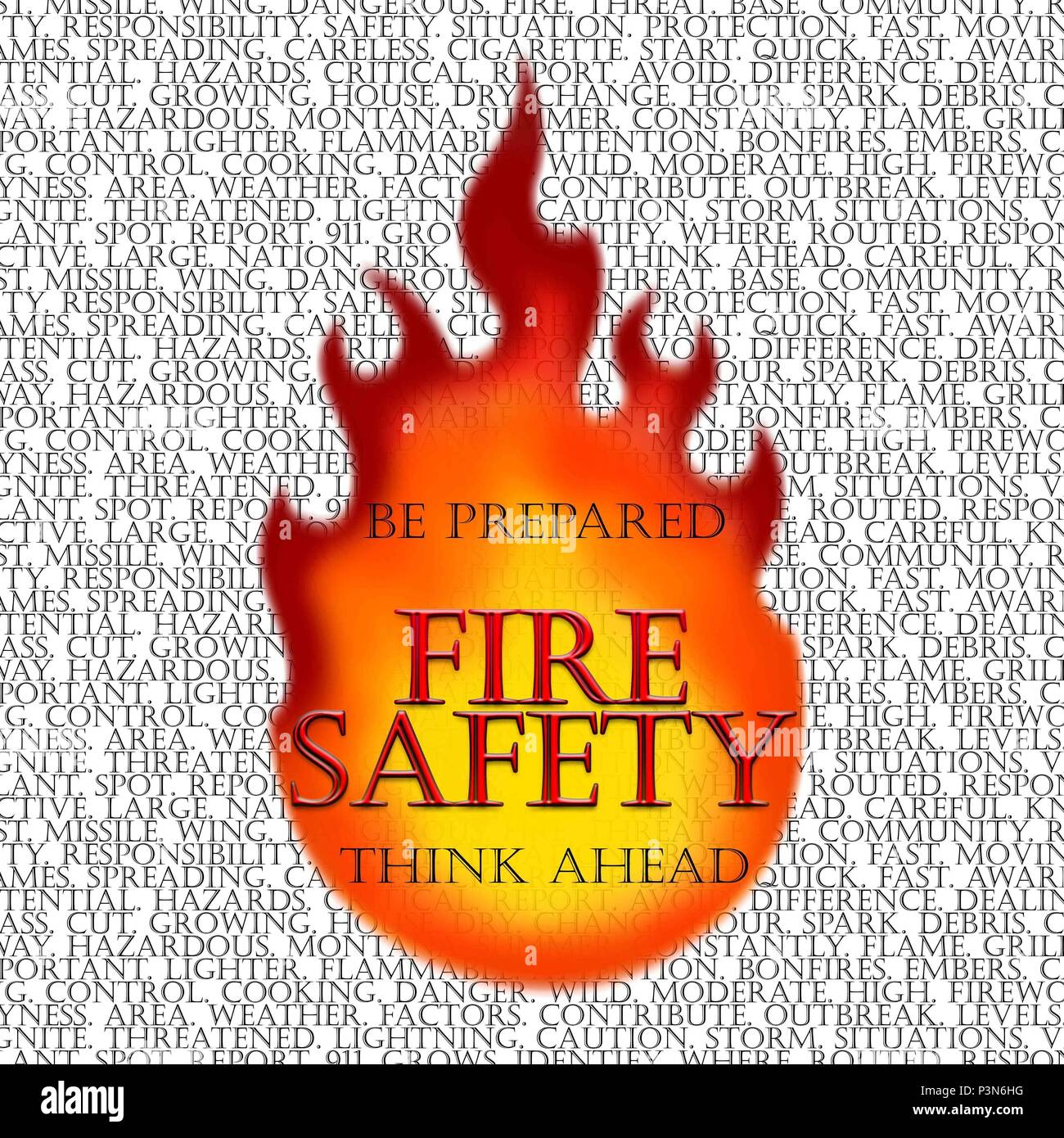 Dangerous fires being a threat to both the 341st Missile Wing and local community is a reality. Half of the base's area of responsibility is a fire safety situation. Fast moving flames don't discriminate between base property and the local community. Being aware of potential hazards both on base and off base is critical. (U.S. Air Force graphic/Airman 1st Class Magen M. Reeves) Stock Photo