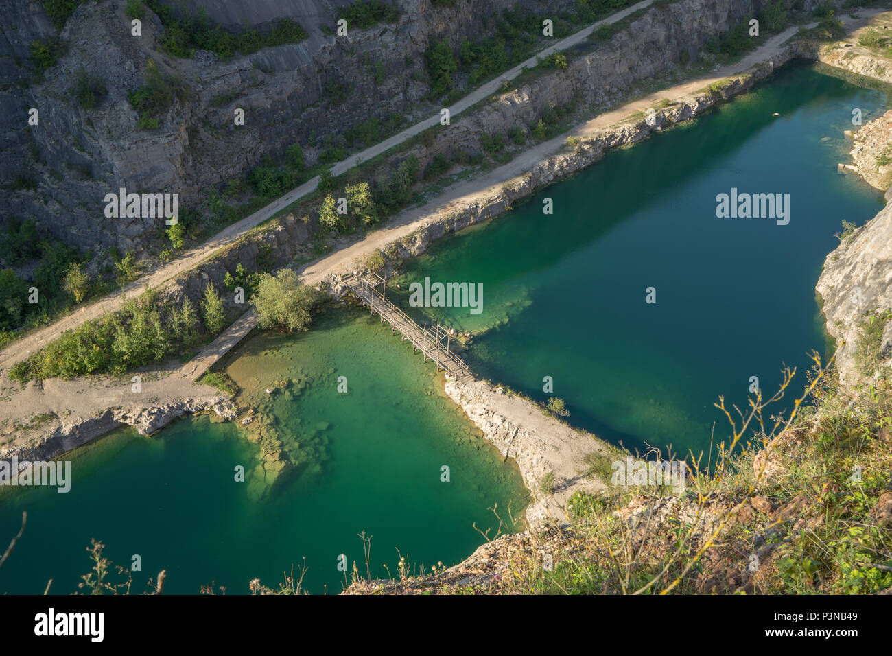 Lom Amerika, Abandoned quarry on the outskirts of Prague, Czech Republic - Stock Image