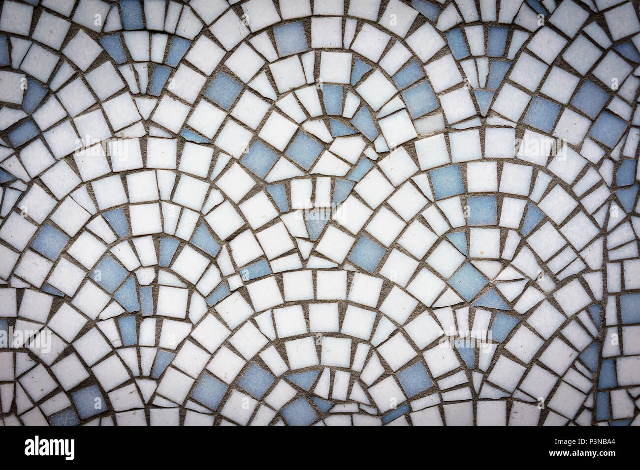 White and blue abstract mosaic seamless pattern. For design and decorate backdrop. Endless texture. Ceramic tile fragments. Landscape format. - Stock Image