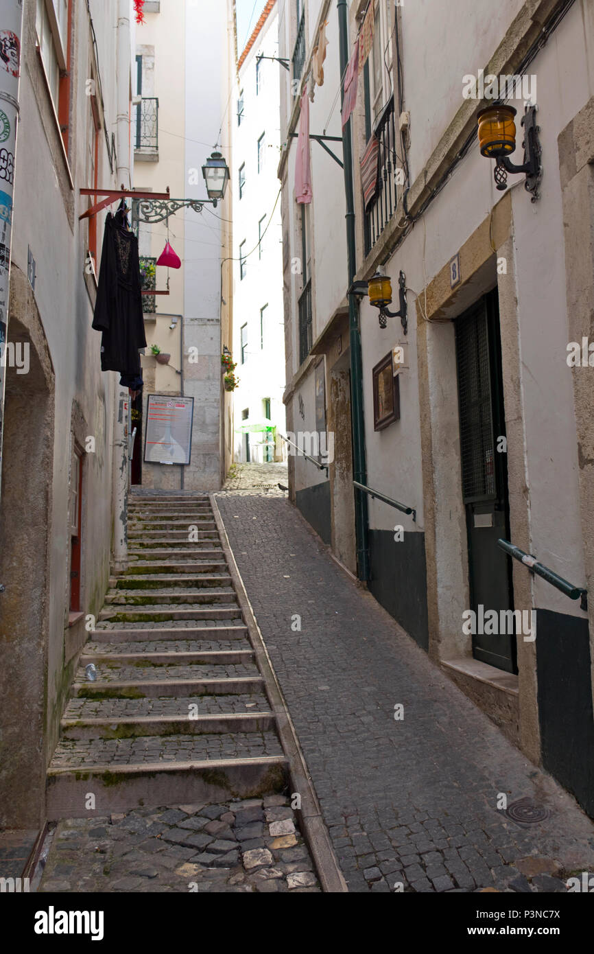 Typical street in Alfama district, Lisbon, Portugal Stock Photo