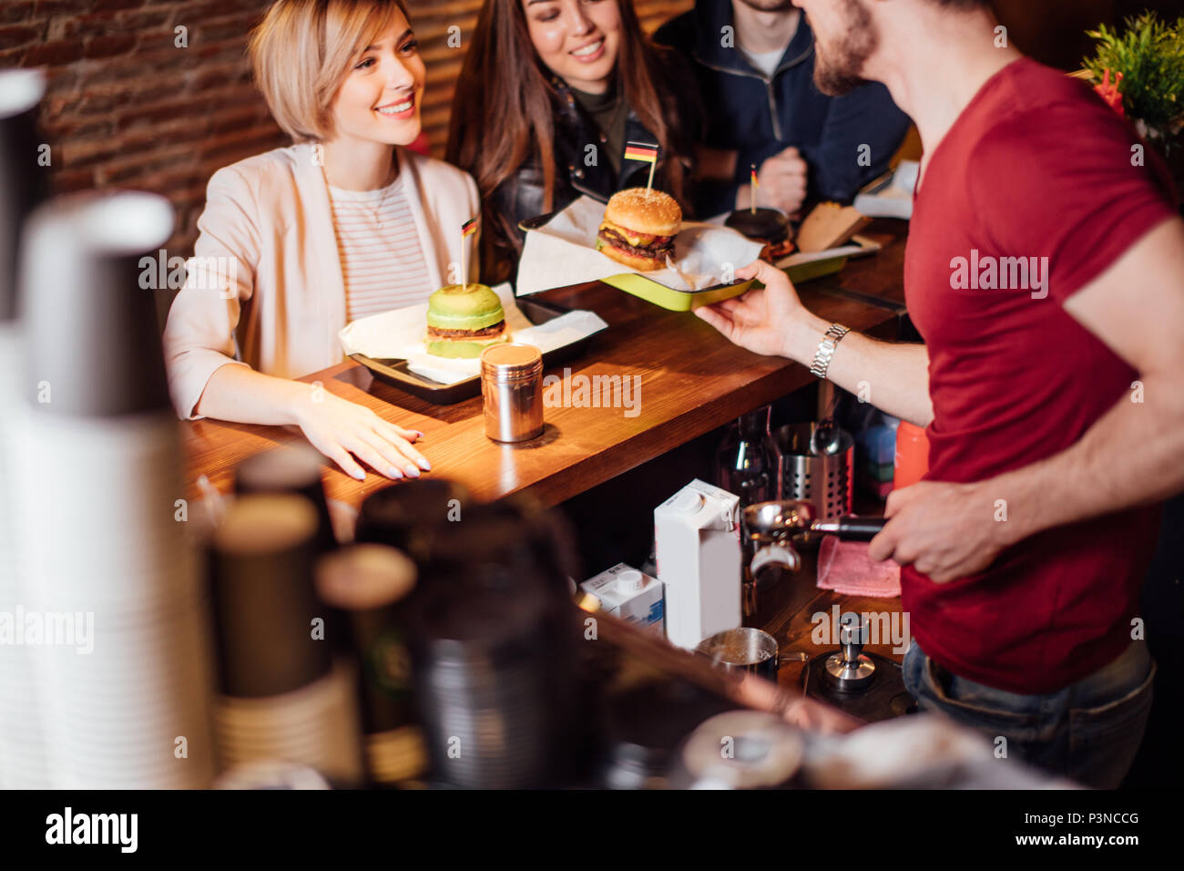 Youth, People, Leisure and Party concept - Stock Image