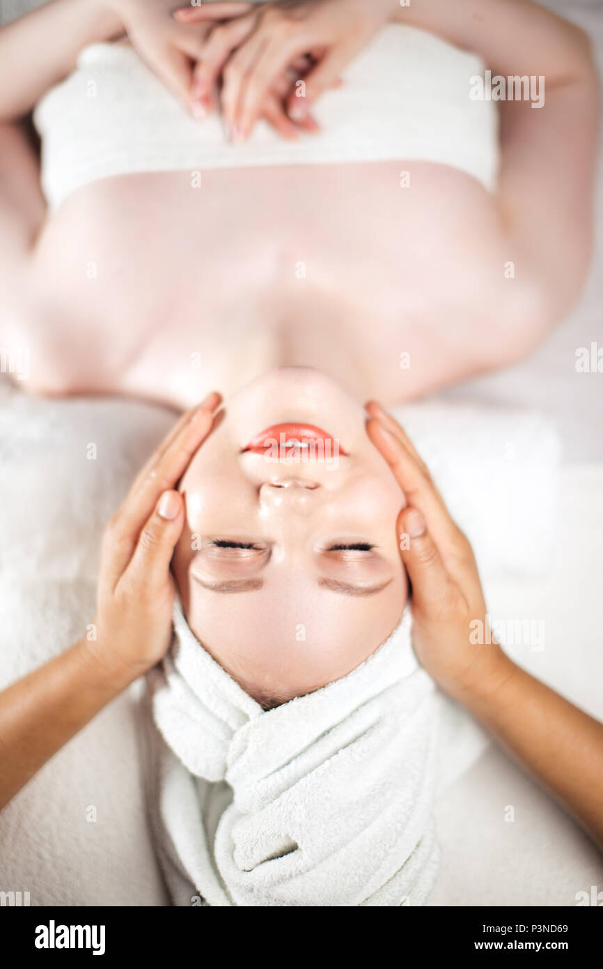Face massage. Healthy skin and body care. - Stock Image