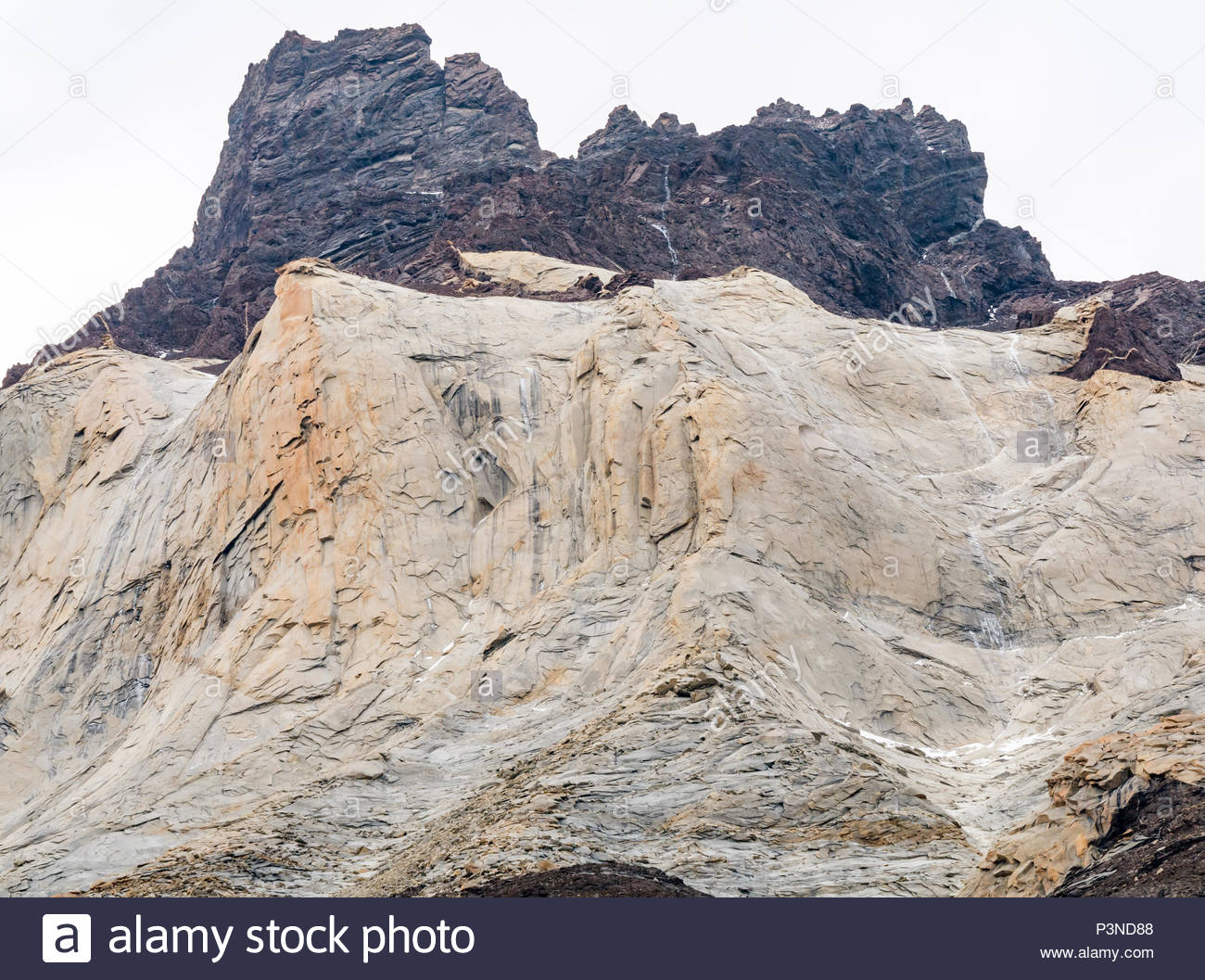 Zoomed view towering Paine Horns, Cuernos del Paine, showing granite intrusion Torres del Paine National Park, Patagonia, Chile, South America - Stock Image