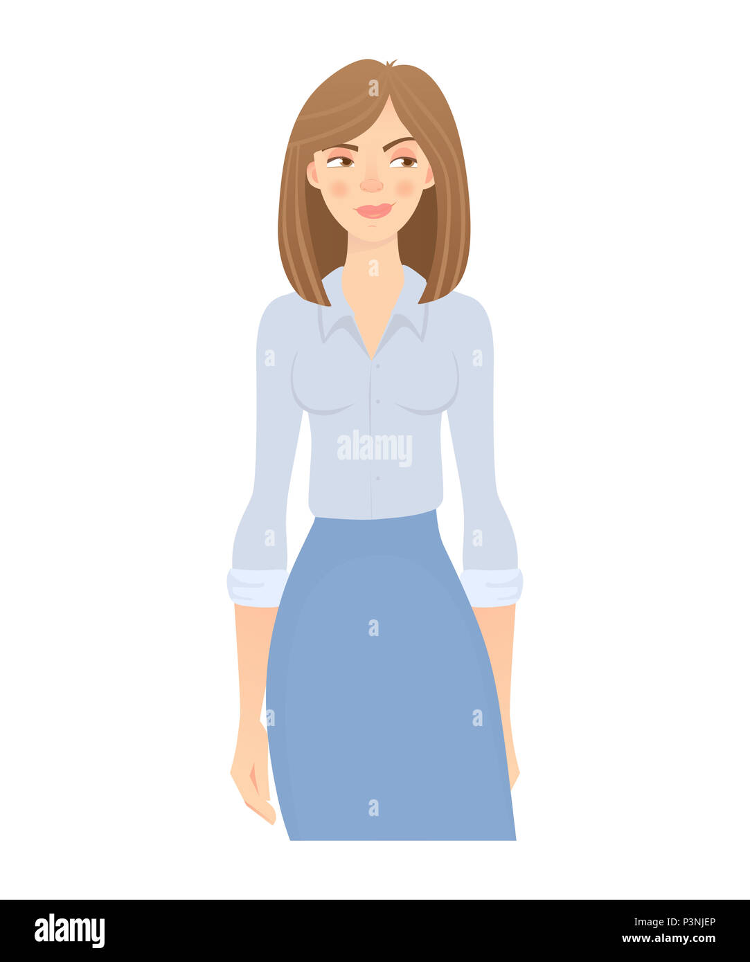 Business woman isolated. Business pose and gesture. Young businesswoman illustration - Stock Image