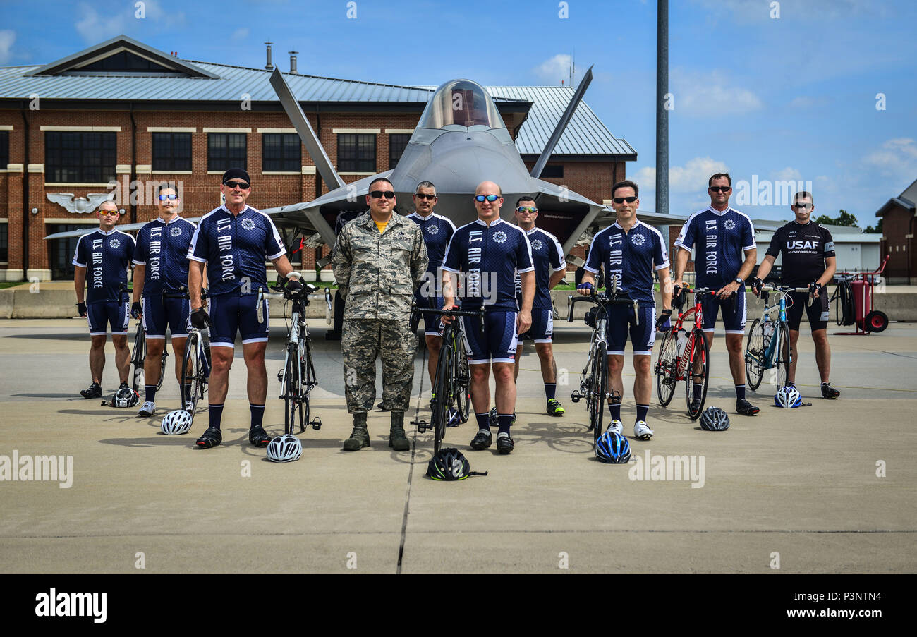 fc9f64eec Members of the Air Force Cycling Team pose for a photo in front of the F