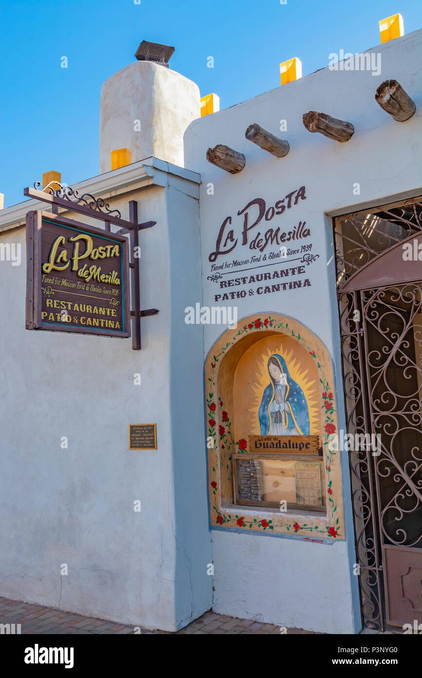 New Mexico, Mesilla, La Posta de Mesilla, mexican restaurant, building circa 1840s - Stock Image