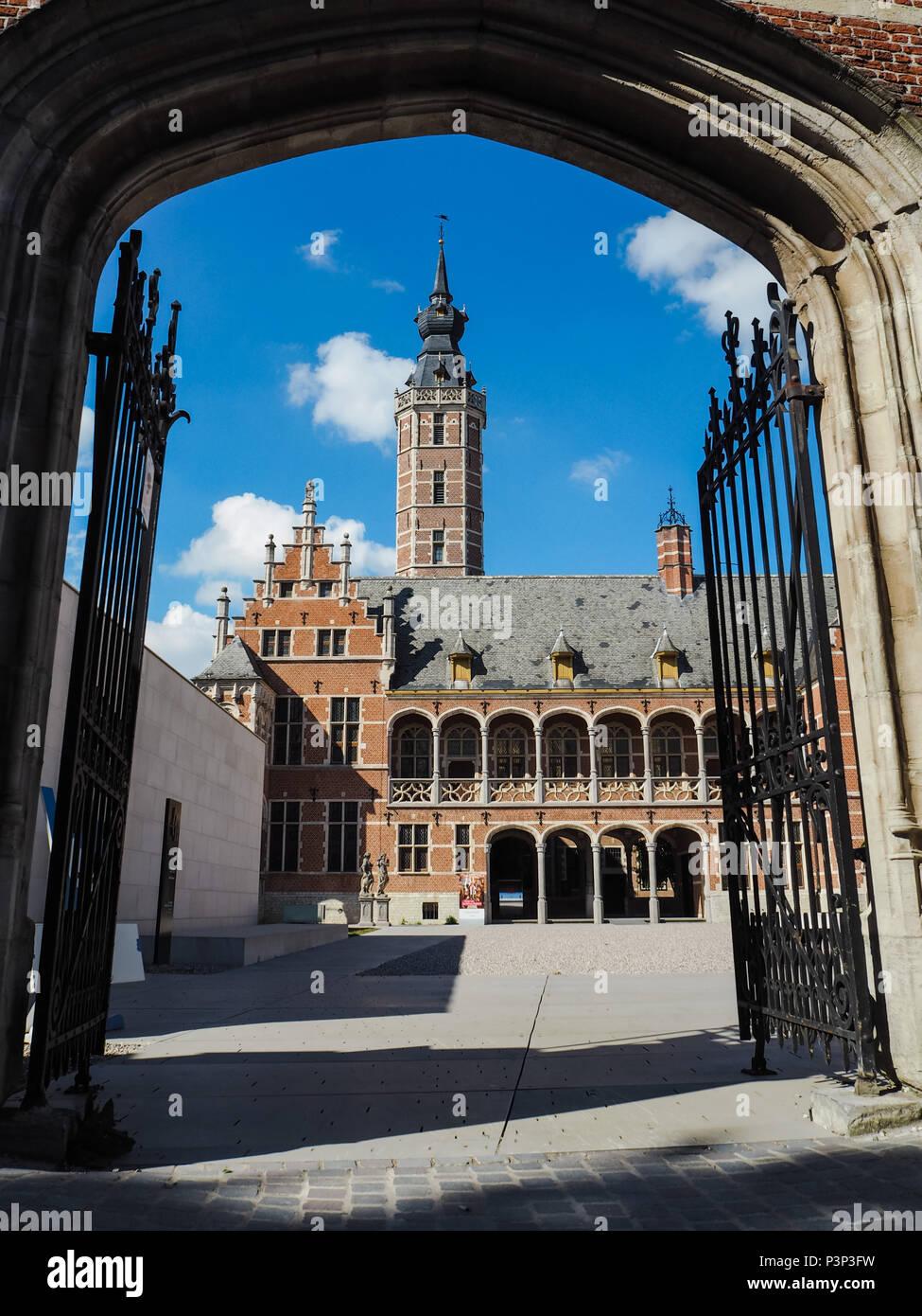 Entrance to the newly renovated museum Hof van Buysleyden focussing on Burgundian court culture, located in Mechelen, Belgium Stock Photo