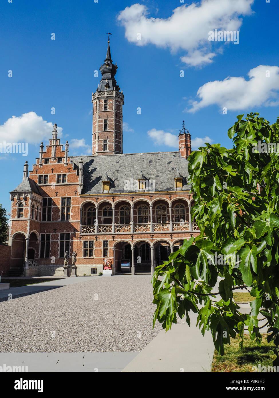 Main courtyard of the newly renovated museum Hof van Buysleyden focussing on Burgundian court culture, located in Mechelen, Belgium Stock Photo