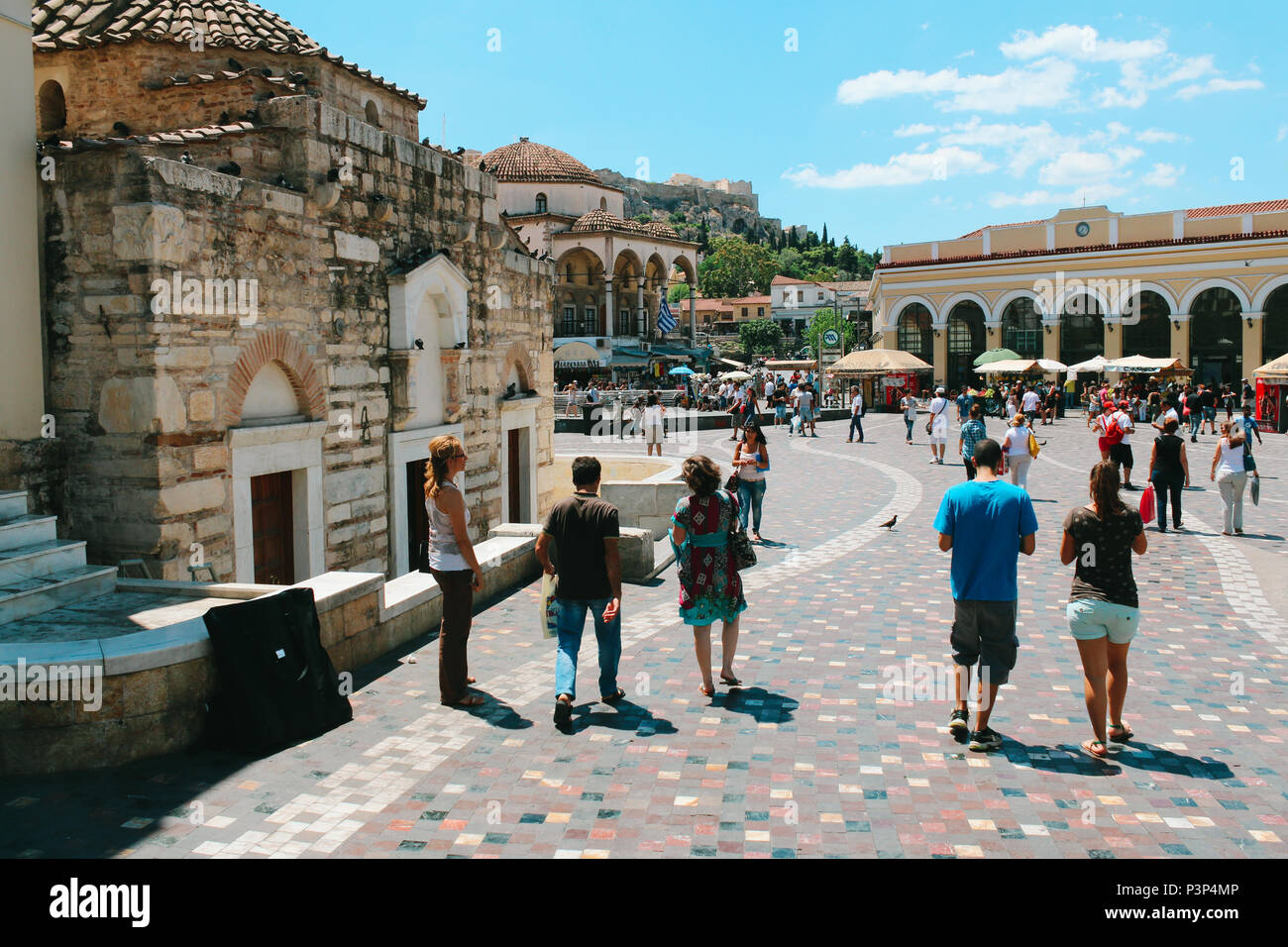 Athens, Greece - July 23, 2013 : Monastiraki square with tourist people - Stock Image