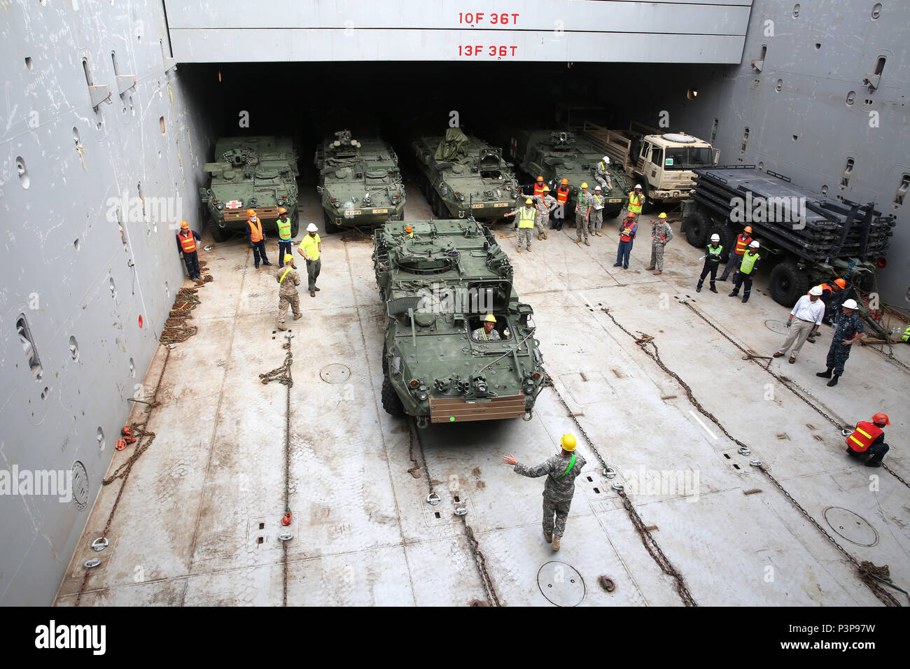 160712-N-IX266-003 SATTAHIP, Thailand—An M1126 Stryker is staged in the cargo deck of general purpose, heavy lift ship MV OCEAN GLORY during a backload of equipment at Chuk Samet, here, from exercise Hanuman Guardian, July 12. Military Sealift Command's contracted voyage-charter MV OCEAN GLORY recently conducted a backload of about 250 items in Thailand as part of U.S. Army Pacific's mobility operation PACIFIC PATHWAYS 16-2. (U.S. Navy photo by Grady T. Fontana/Released) - Stock Image