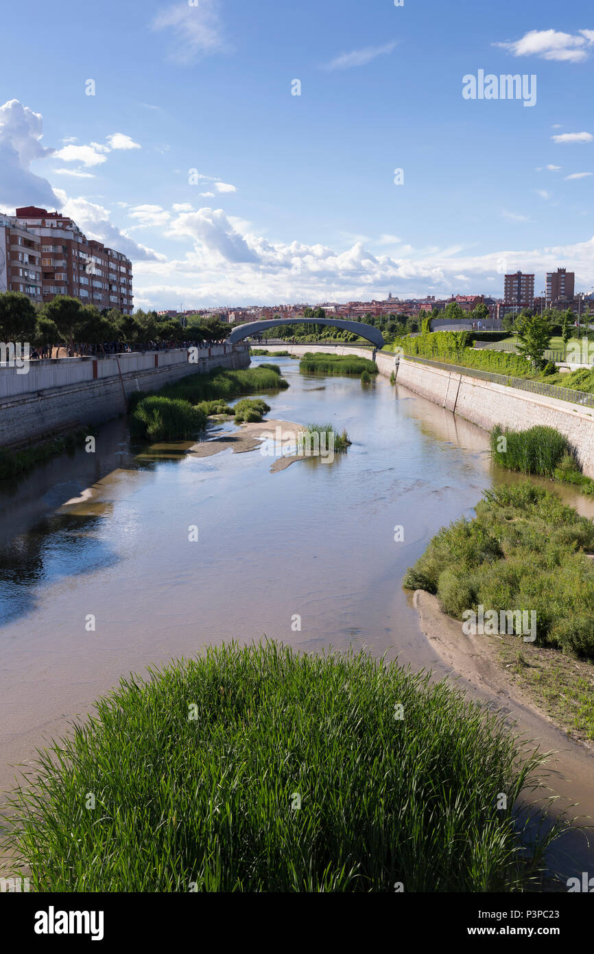 Madrid, Spain: View of the Manzanares River separating the Arganzuela and Carabanchel districts. Stock Photo