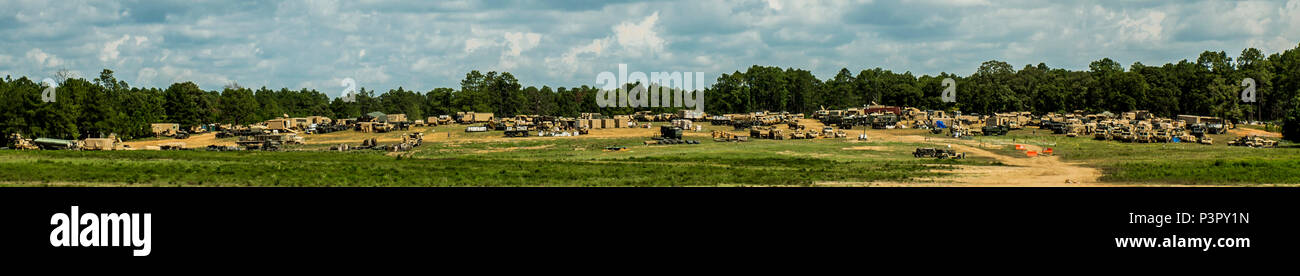 The 427th Brigade Support Battalion, New York Army National Guard, conducts operations out of the battalion's logistic support area  at the Joint Readiness Training Center, Ft. Polk, La., July 26, 2016. Approximately 3,000 Soldiers from New York joined 2,000 other state Army National Guard units, active Army and Army Reserve troops as part of the 27th Infantry Brigade Combat Team task force. The Soldiers are honing their skills and practicing integrating combat operations ranging from infantry troops engaging in close combat with an enemy to artillery and air strikes, July 9-30, 2016. (U.S. Ar Stock Photo