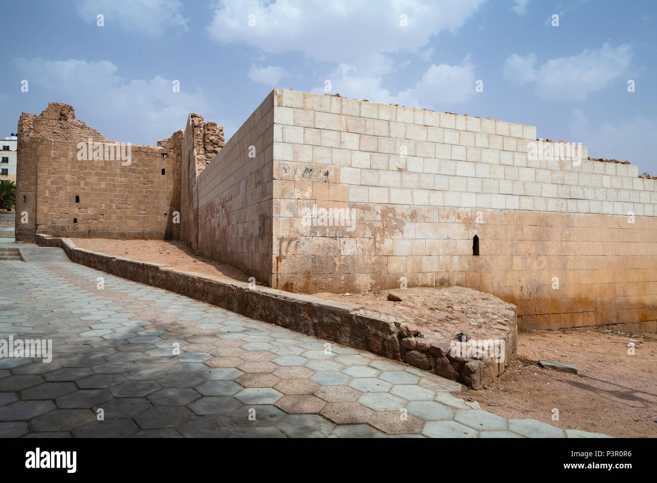 Ruined Aqaba Fortress, Mamluk Castle or Aqaba Fort located in Aqaba city, Jordan - Stock Image