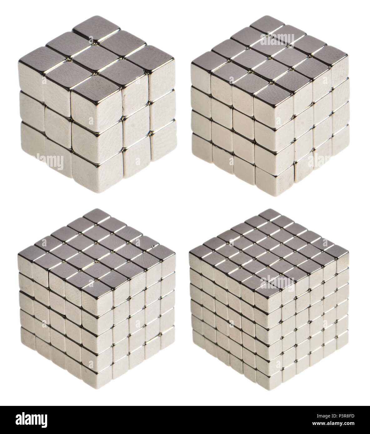 Cube numbers (numbers multiplied by themselves twice) 27, 64, 125, 216 - Stock Image