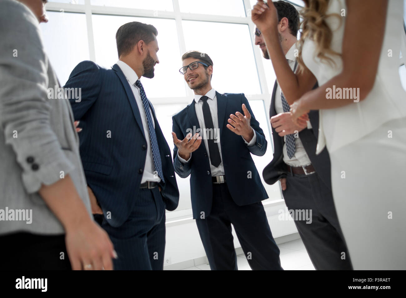 working group of business people discussing common interests - Stock Image