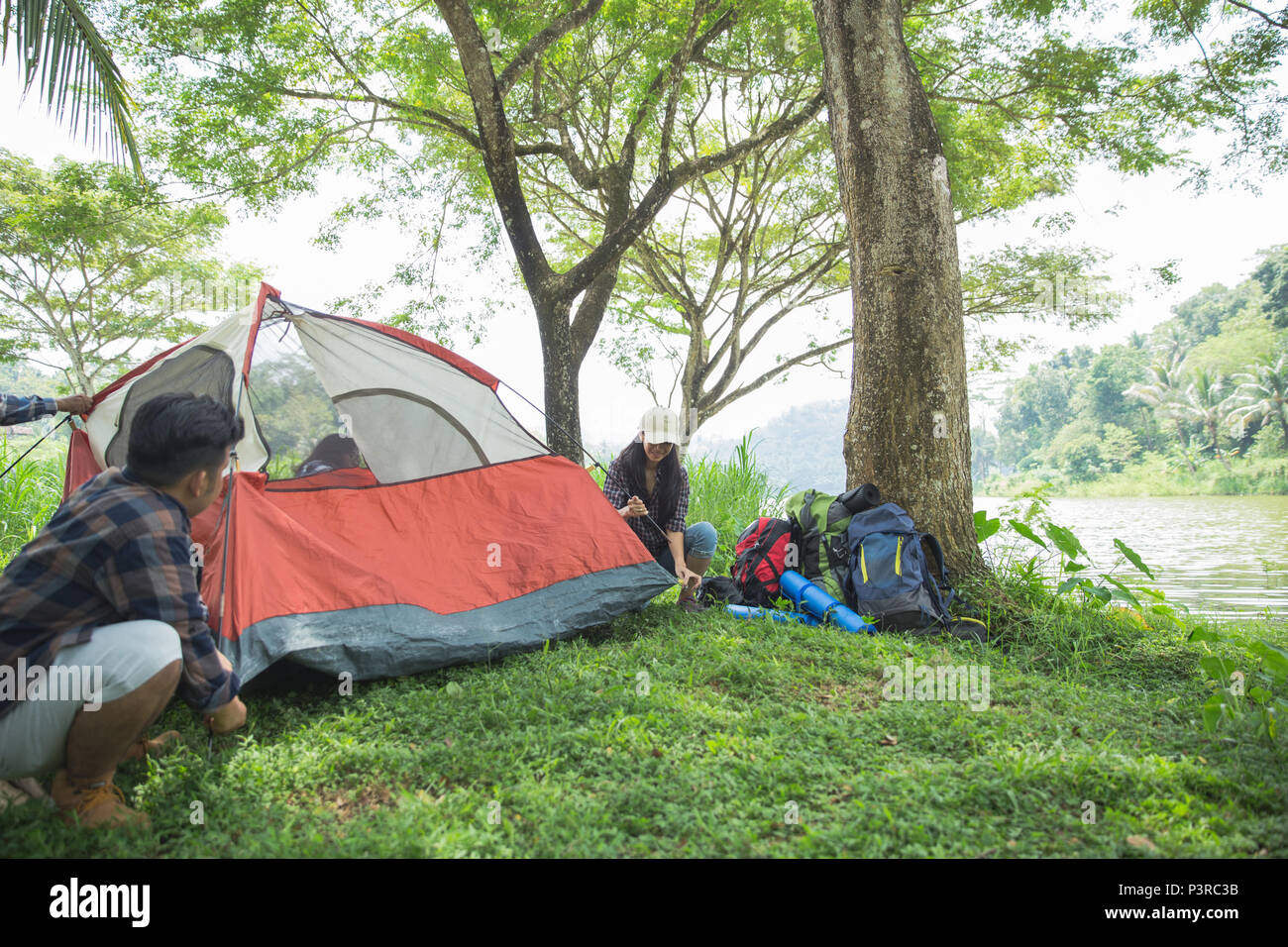 tourist help each other prepare tent - Stock Image