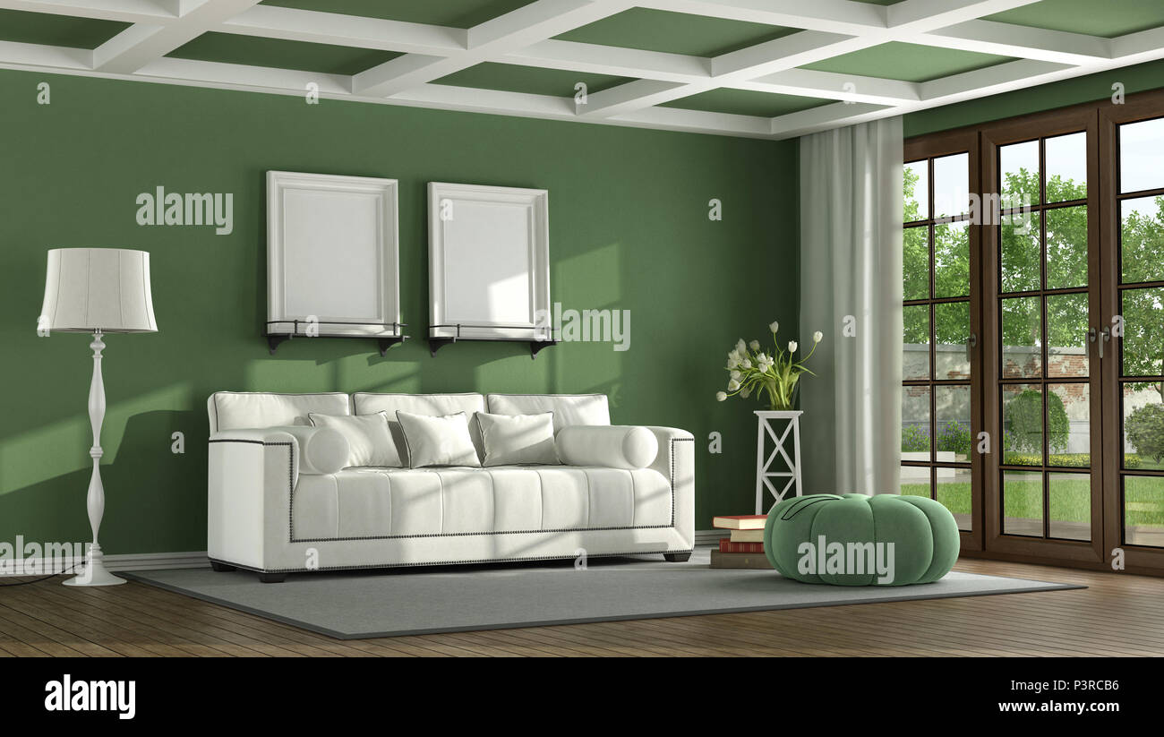Green Classic Living Room With White Sofa And Wooden Window   3d Rendering