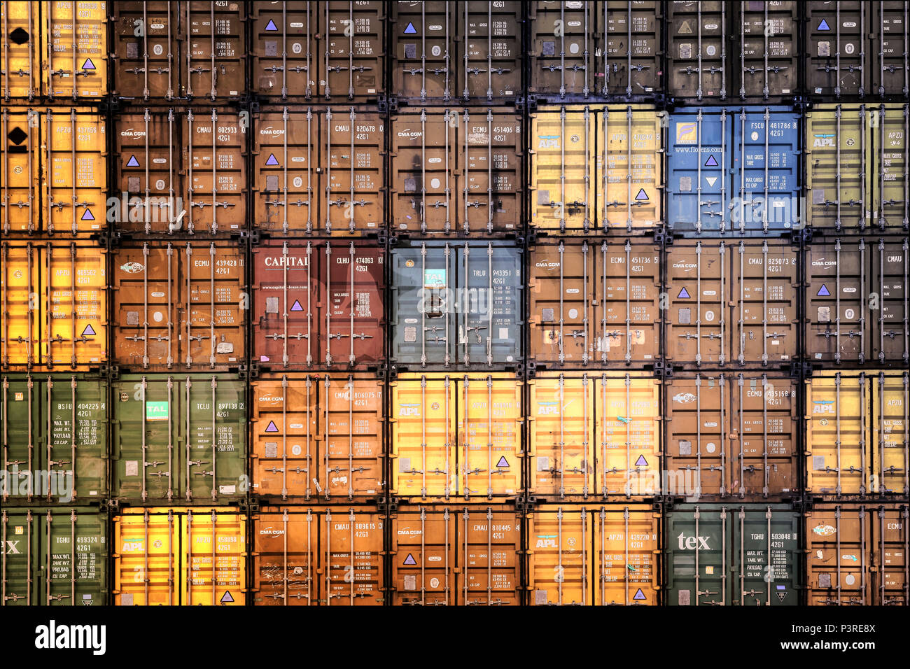 Stacked containers in the port of Hamburg, Germany, Europe, Gestapelte Container im Hamburger Hafen, Deutschland, Europa - Stock Image