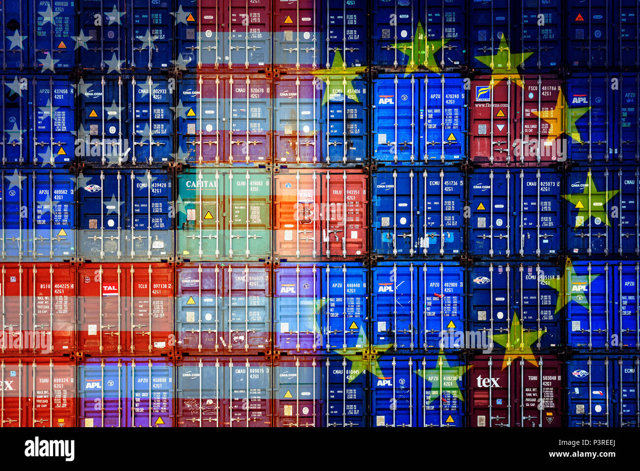 Stacked containers in the colors of the EU and the USA, trade dispute, Gestapelte Container in den Farben von EU und den USA, Handelsstreit - Stock Image