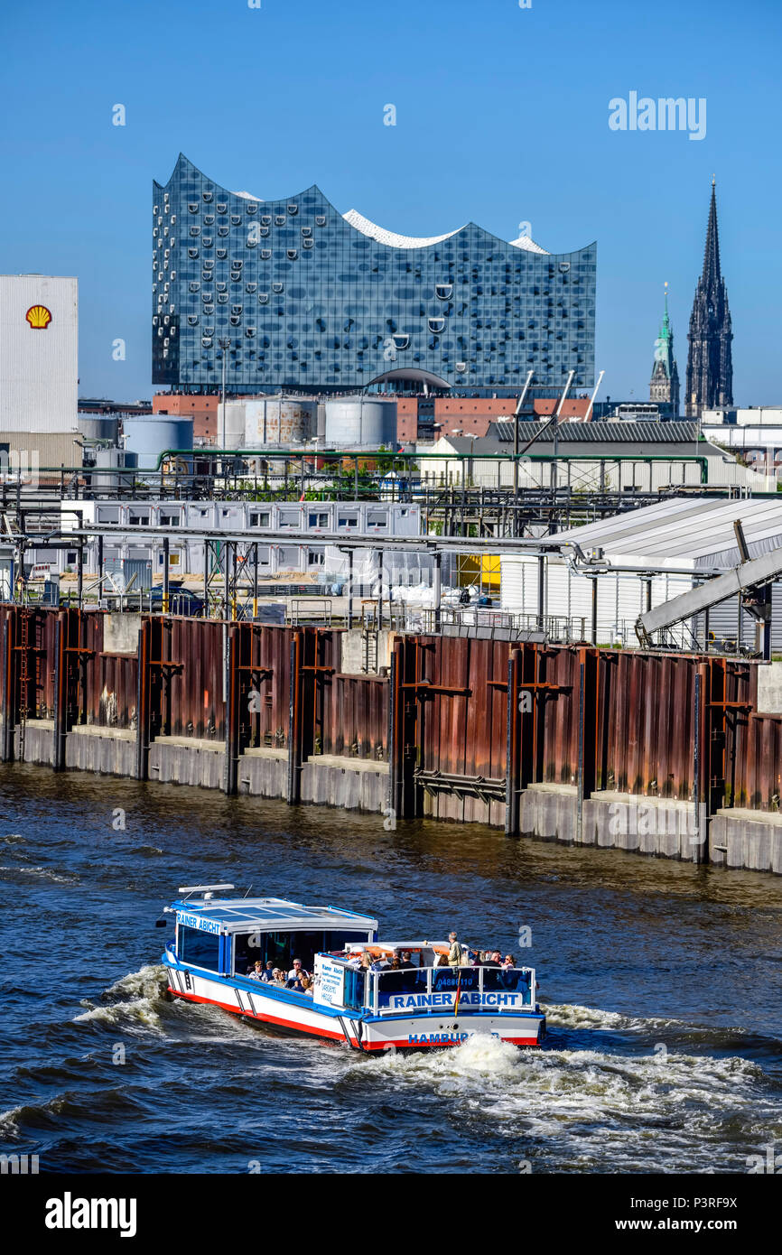 Elbphilharmonie, herons rose and port facilities in Hamburg, Germany, Europe, Reiherstieg und Hafenanlagen in Hamburg, Deutschland, Europa Stock Photo