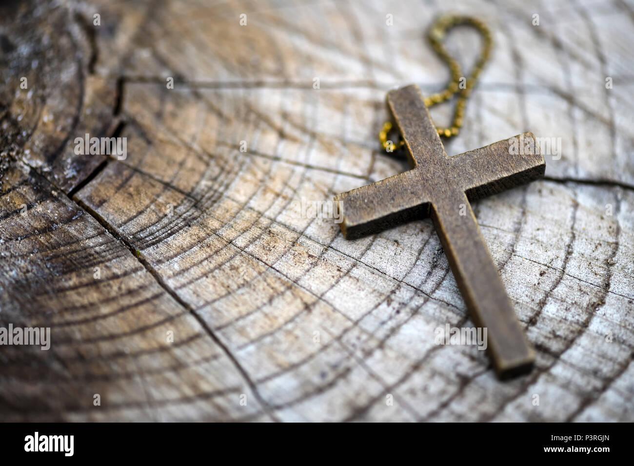 Wooden cross, Hölzernes Kreuz - Stock Image