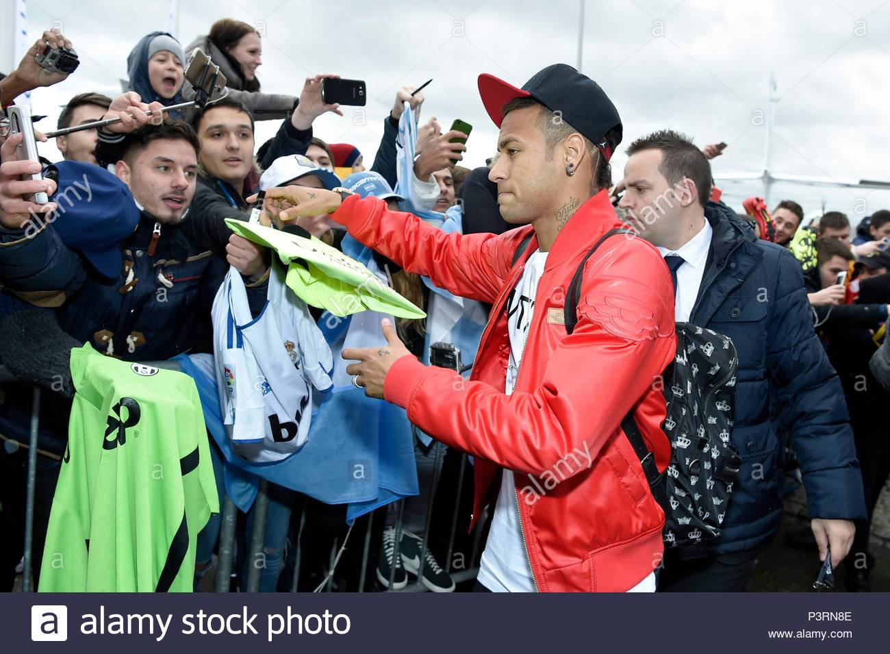 Neymar. 11JAN2016 Soccer stars arriving at Zurich airport for the FIFA Ballon d'Or Gala 2015 at the Kongresshalle in Zurich. - Stock Image