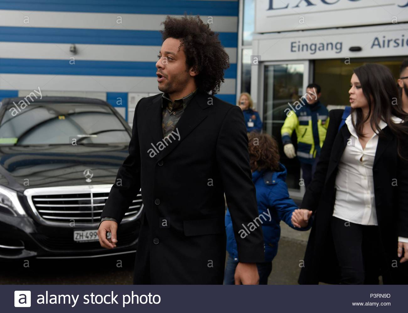 Marcelo da Silva Junior. 11JAN2016 Soccer stars arriving at Zurich airport for the FIFA Ballon d'Or Gala 2015 at the Kongresshalle in Zurich. - Stock Image
