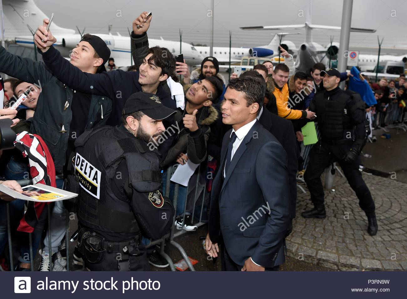 Thiago Silva. 11JAN2016 Soccer stars arriving at Zurich airport for the FIFA Ballon d'Or Gala 2015 at the Kongresshalle in Zurich. - Stock Image