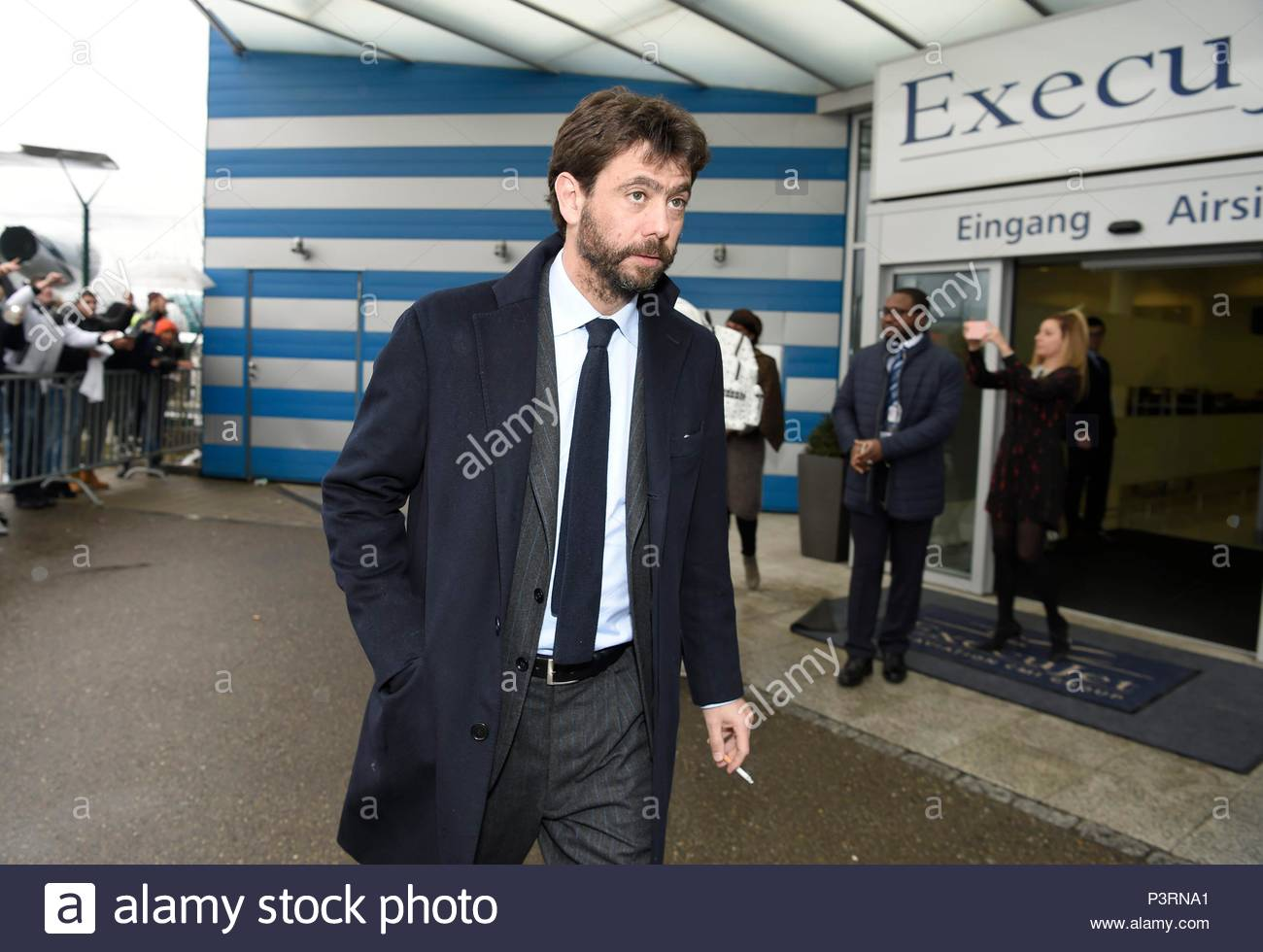 Andrea Agnelli. 11JAN2016 Soccer stars arriving at Zurich airport for the FIFA Ballon d'Or Gala 2015 at the Kongresshalle in Zurich. - Stock Image