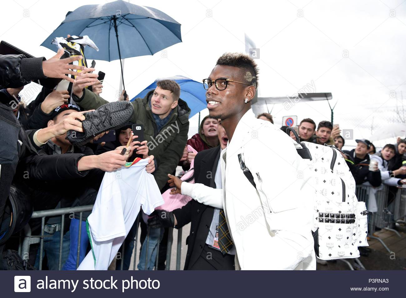 Paul Pogba. 11JAN2016 Soccer stars arriving at Zurich airport for the FIFA Ballon d'Or Gala 2015 at the Kongresshalle in Zurich. - Stock Image
