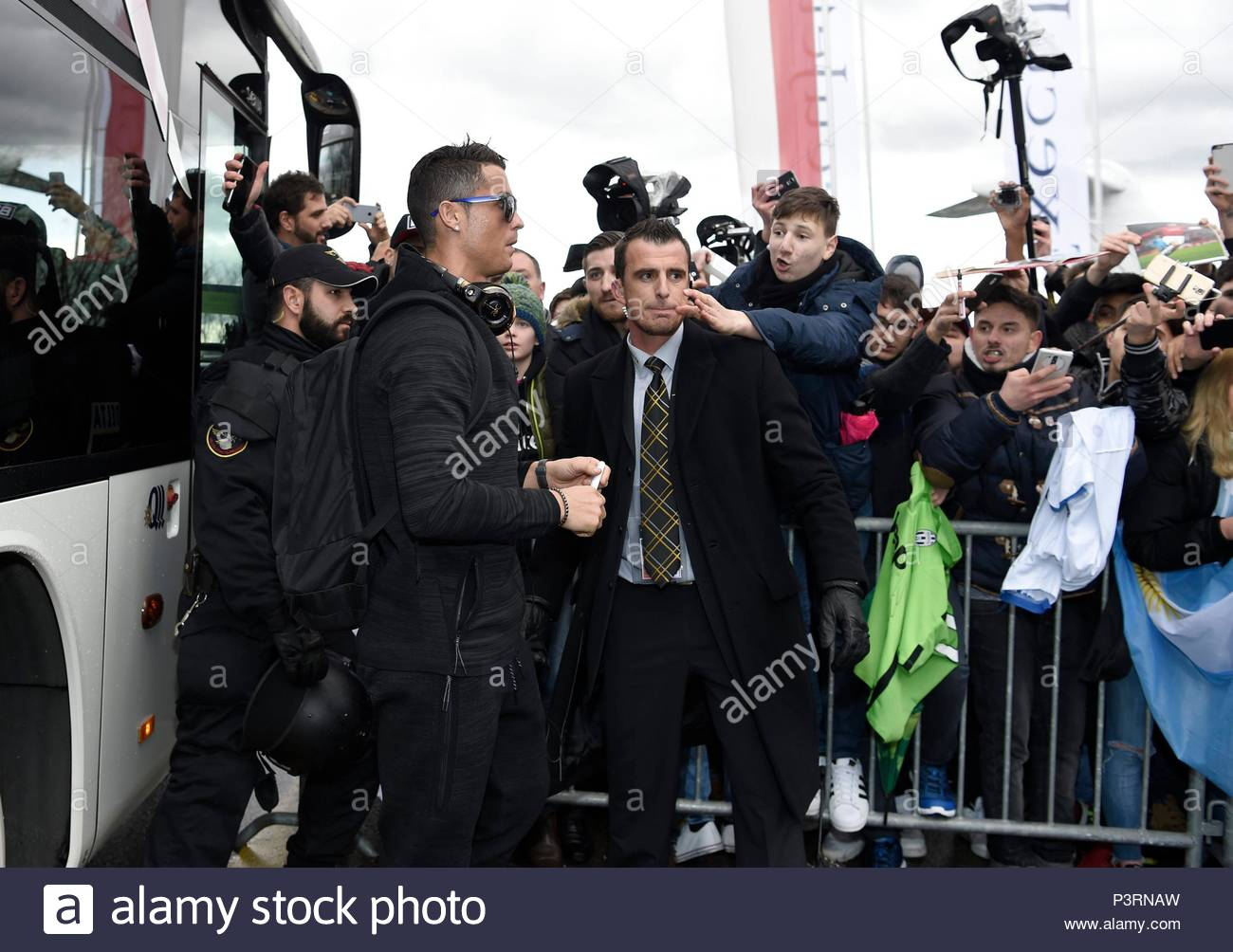 Cristiano Ronaldo. 11JAN2016 Soccer stars arriving at Zurich airport for the FIFA Ballon d'Or Gala 2015 at the Kongresshalle in Zurich. - Stock Image