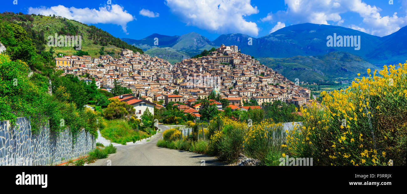 Impressive Morano Calabro village,view with houses and mountains,Calabria,Italy. - Stock Image