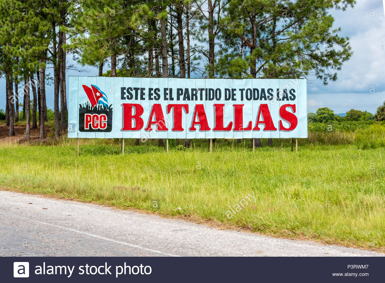 Cuban Communist Party propaganda sign or billboard in Pinar del Rio,Cuba. The sign reads: This is the party of all battles. Stock Photo