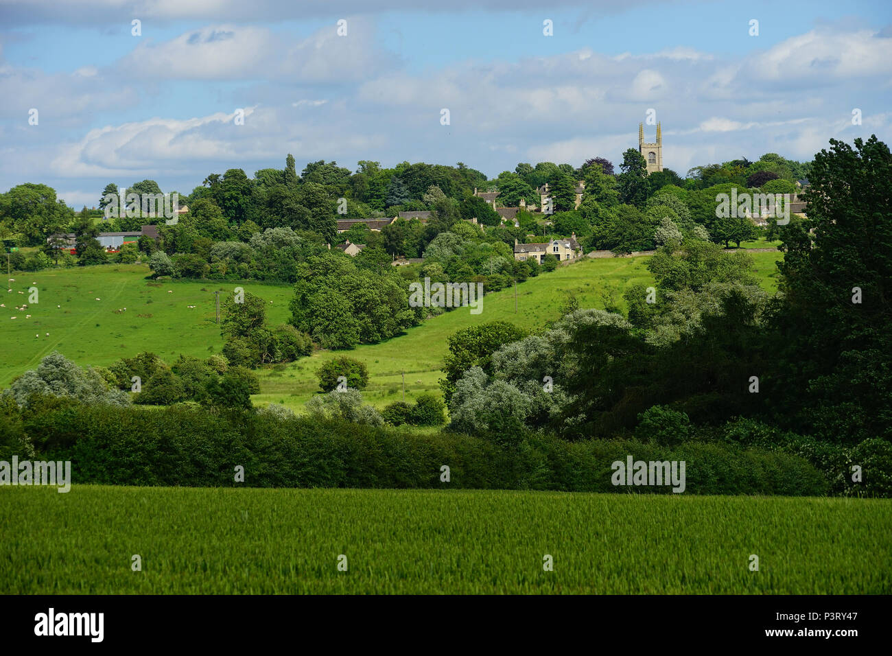 Collyweston village viewed from the Jurassic Way as it passes through the Welland Valley - Stock Image
