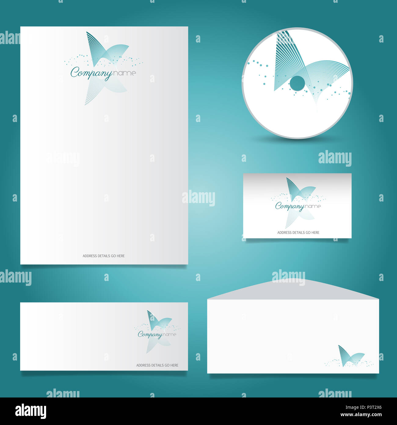 business stationery set with decorative logo design stock photo
