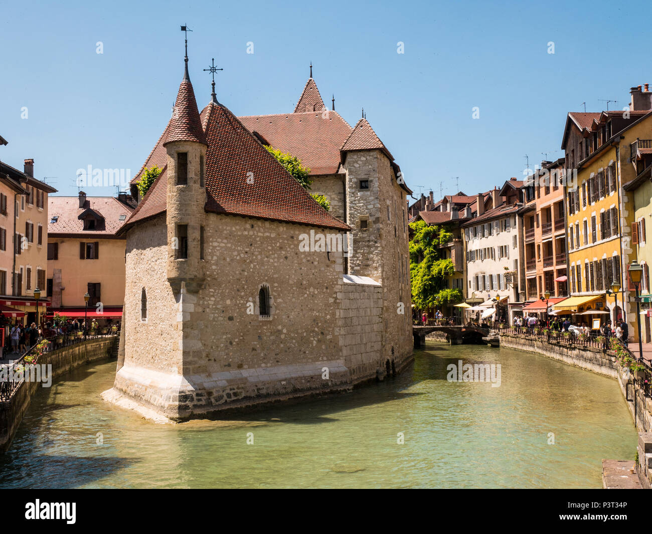 Cityscape with ancient prison now museum in Old Town of Annecy. France - Stock Image