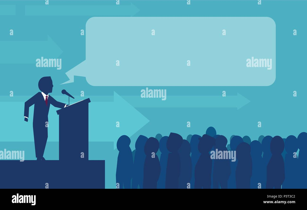 Flat style of politician businessman making speech in front of crowd having announcement from tribune - Stock Vector