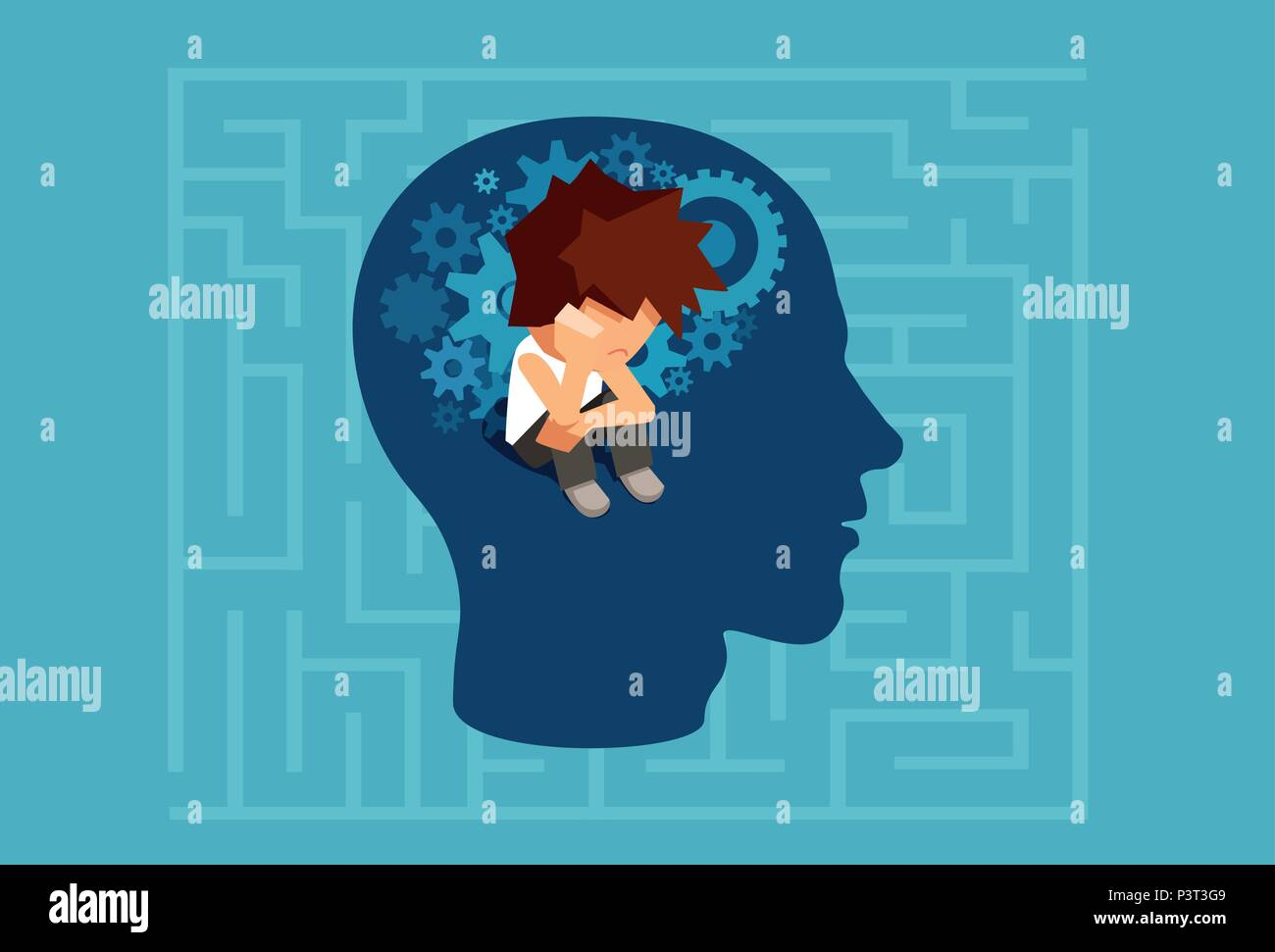 Vector of a child subconscious mind of an adult man concept - Stock Image