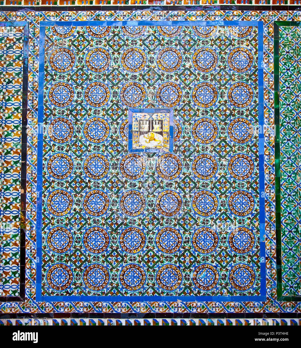 Tiled wall of Patio Principal in La Casa De Pilatos In Seville,Spain ...