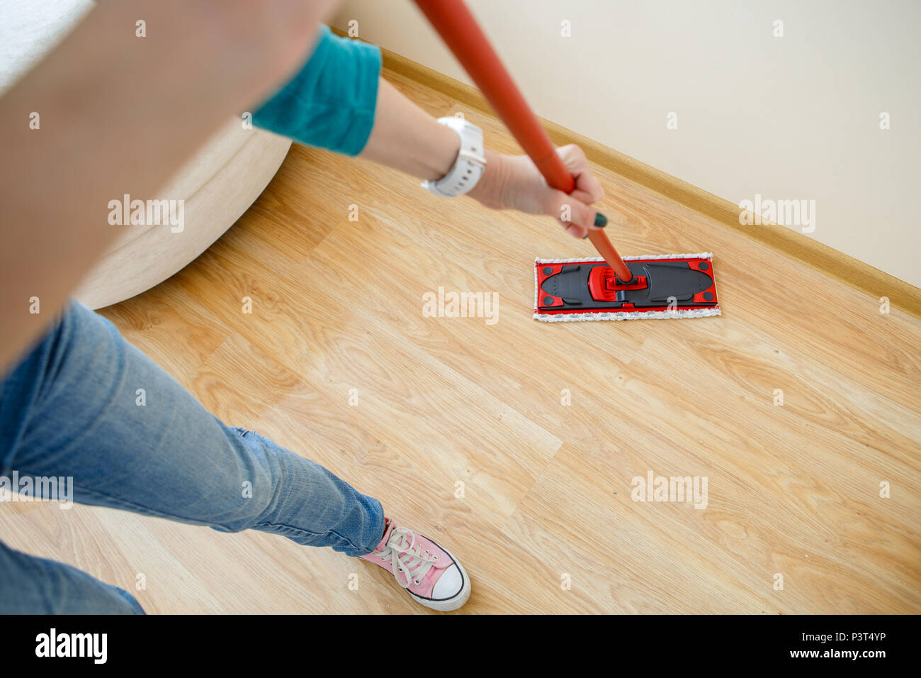 Photo of man with mop washer floor - Stock Image