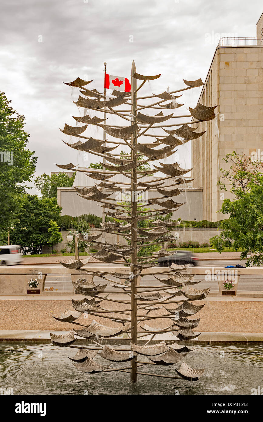 Images of the Tree-shaped Fountain in the Garden of the Provinces and Territories, Ottawa, Canada - Stock Image