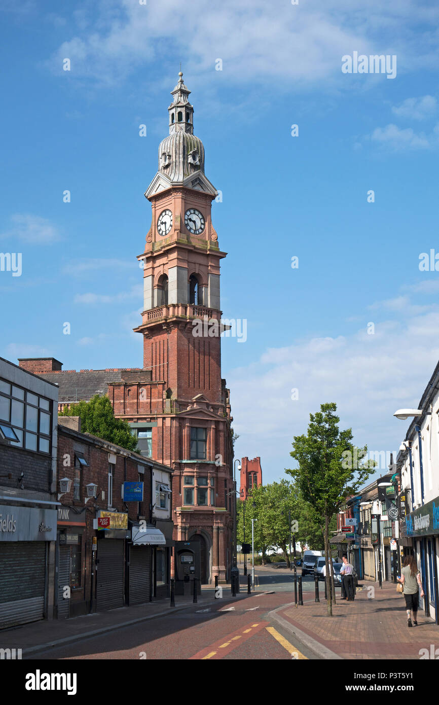 Beechams clock tower a grade II listed building in the town of st.helens, lancashire, merseyside, england, britain, uk. - Stock Image