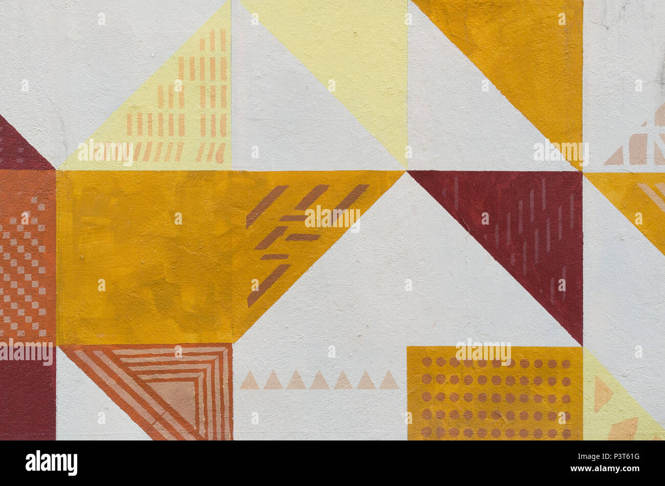 Wall art painted texture. Triangular patterns, colorful background ...