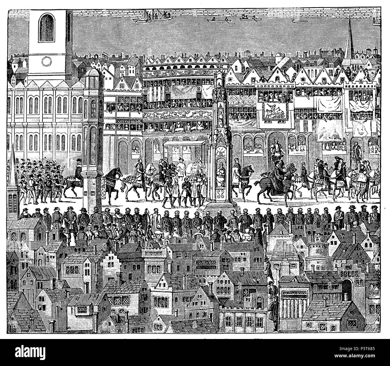Scene from the coronation procession of King Edwards VI :, 1547. After a painting on Cowdray,   1881 - Stock Image